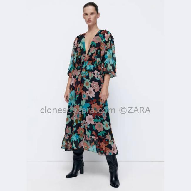 Vestido Estampado Floral Midi ZARA