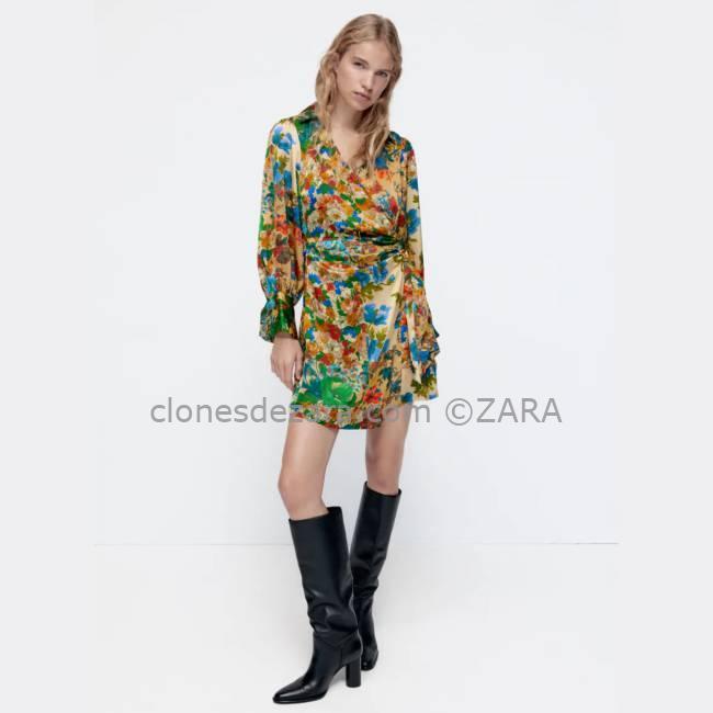 Vestido Satinado Floral Multicolor ZARA